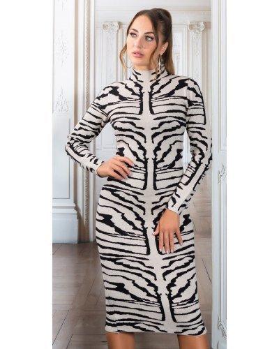 Rochie tricotata de toamna animal print zebra Armina
