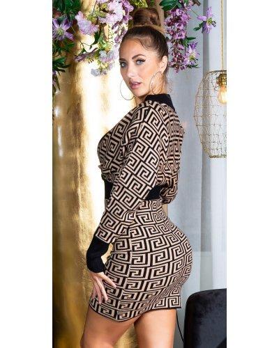 Rochie tricotata de toamna capucino cu maneci lungi Serena