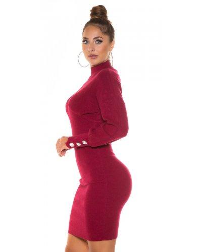 Rochie tricotata de zi burgundy Consuela