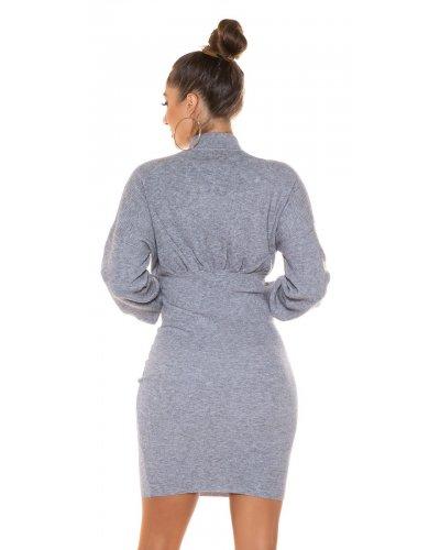 Rochie tricotata de zi gri Consuela