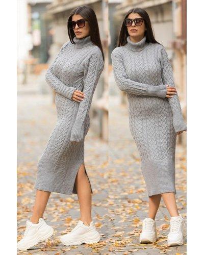 Rochie tricotata gri lunga cu guler Giuliana