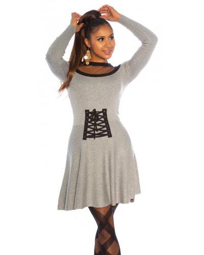 Rochie tricotata in clos gri cu aspect de corset Cashlin