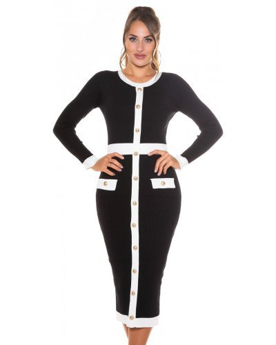 Rochie tricotata neagra cu butoni si maneci lungi Akya