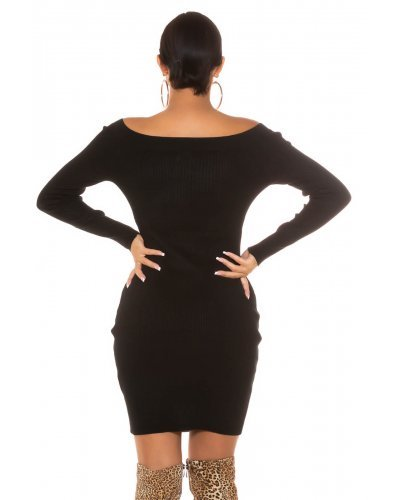 Rochie tricotata neagra cu fermoar pe bust Neomy