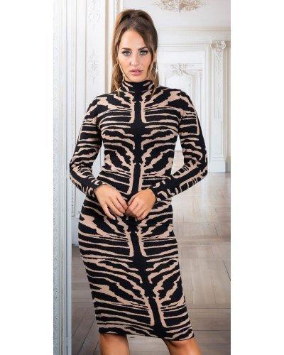 Rochie tricotata neagra de toamna animal print zebra Armina