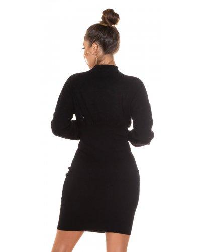 Rochie tricotata neagra mulata Consuela