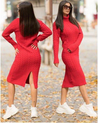 Rochie tricotata rosie lunga cu guler Giuliana