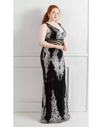 Rochie XXL de seara lunga neagra cu paiete argintii PrincessBatal