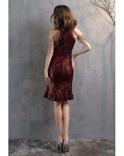 Rochie de seara midi din paiete burgundy cu margelute si volan Dalvina