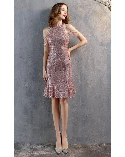 Rochie de seara midi din paiete roz cu margelute si volan Dalvina