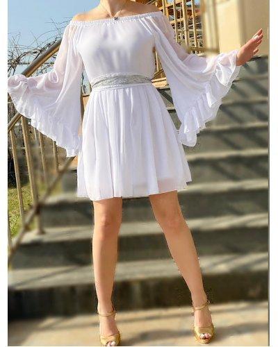 Rochie de ocazie din voal alb scurta cu maneci clopot Alyna