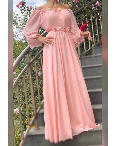 Rochie de ocazie eleganta lunga voal roz Angel