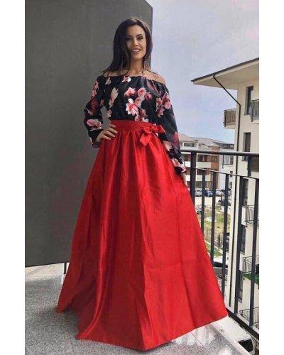 Rochie de ocazie lunga din tafta satinata rosie cu flori multicolore Cassandra