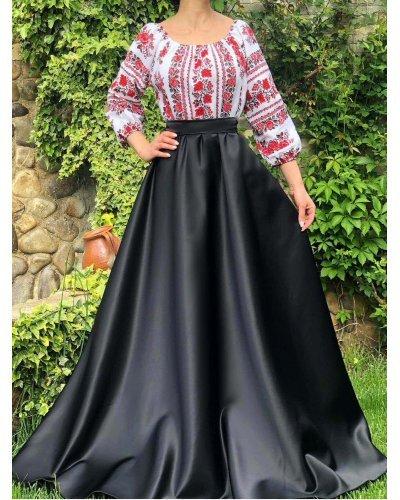 Rochie de ocazie traditionala tafta si bumbac lunga Carmyna