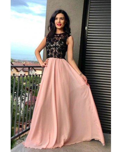 Rochie de ocazie vaporoasa cu voal roz si dantela neagra Laima