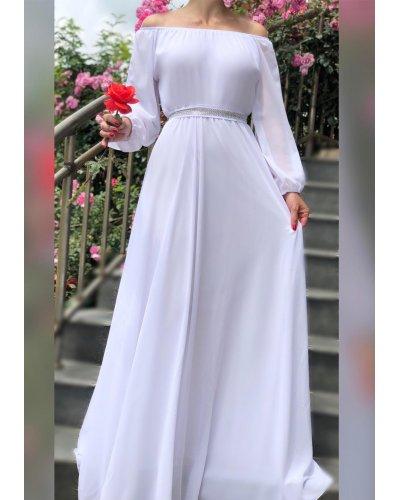 Rochie de ocazie vaporoasa lunga voal alb Afrodita
