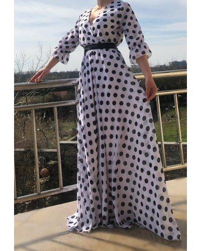 Rochie de zi eleganta lunga alba cu buline negre Sereya