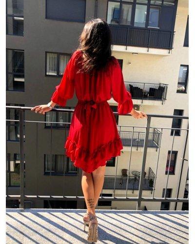 Rochie de zi eleganta scurta din voal rosu Amedia