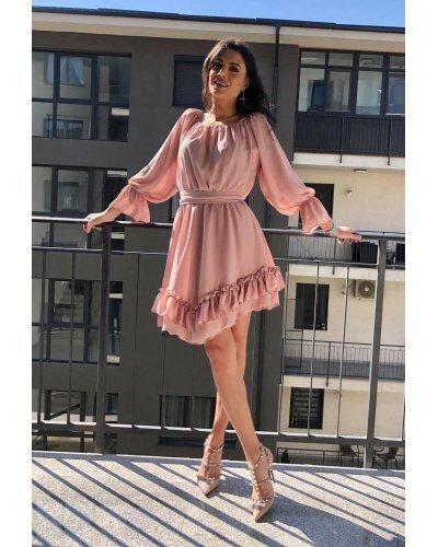 Rochie de zi eleganta scurta din voal roz pal Amedia