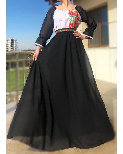 Rochie din voal negru cu motive traditionale pe bust Emanuela
