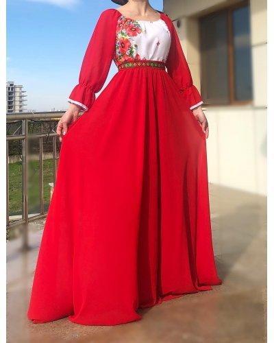 Rochie din voal rosu cu motive traditionale pe bust Emanuela
