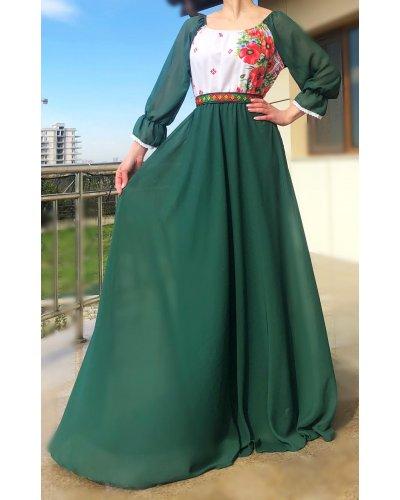 Rochie din voal verde cu motive traditionale pe bust Emanuela