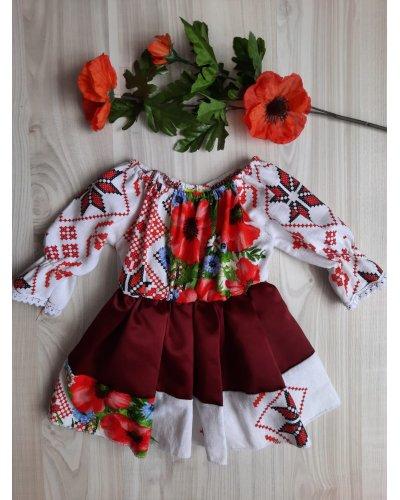 Rochie fata tafta burgundy cu motive traditionale Mella