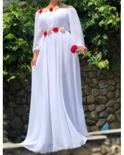 Rochie de ocazie eleganta lunga voal alb Angel