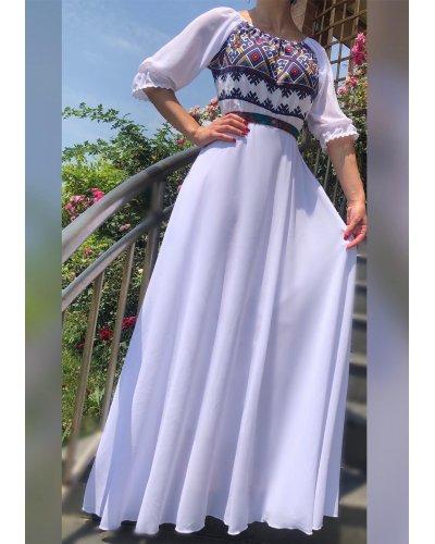 Rochie traditionala eleganta lunga din voal alb Analisa