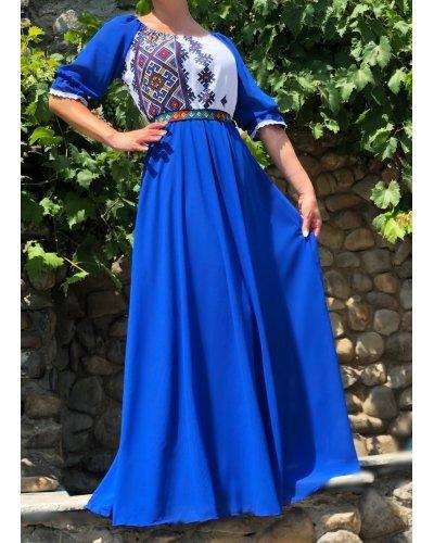 Rochie traditionala eleganta lunga din voal albastru Analisa