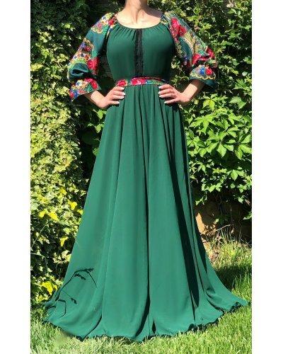 Rochie traditionala gispy eleganta lunga voal verde Lyuba