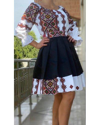 Rochie traditionala midi tafta neagra Mya