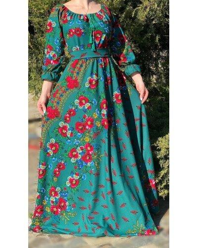 Rochie traditionala gipsy verde lunga cu motive florare Garofita