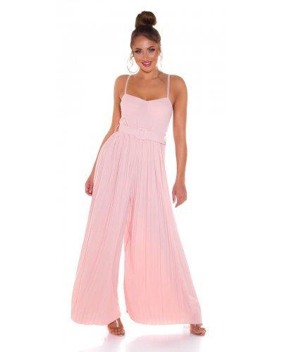 Salopeta dama eleganta evazata plisata roz pal Monique