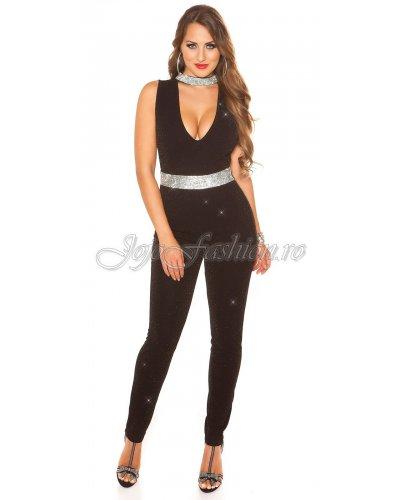 Salopeta de dama eleganta glitter negru Koucla Sharon