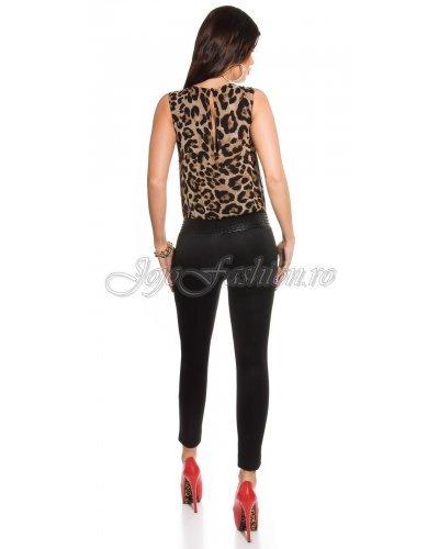 Salopeta eleganta in doua culori leopard si negru Livana