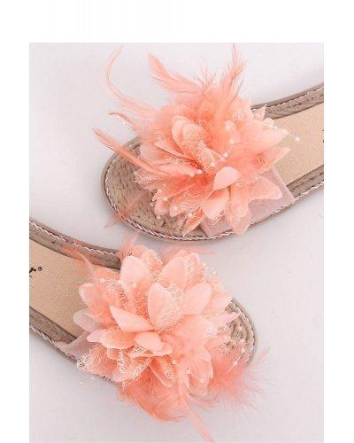 Slapi de dama roz cu pene si flori Anca