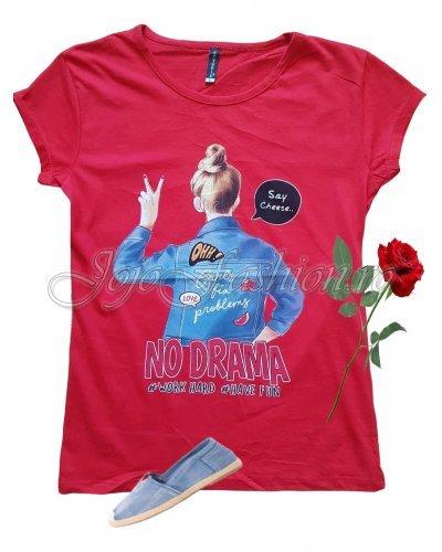 Tricou dama rosu casual cu mesaj si imprimeu Alina