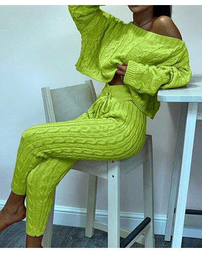 Compleu dama tricotat verde neon Lorra