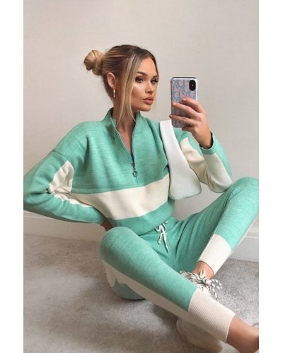 Trening casual din tricot turcoaz cu dungi albe Desiree