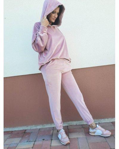 Trening dama casual catifea roz cu gluga Elle