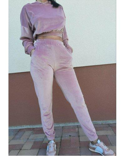 Trening dama crop top catifea roz pudra Gyssa