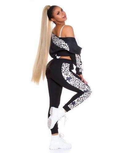 Trening dama negru cu print leopard Cleopatra
