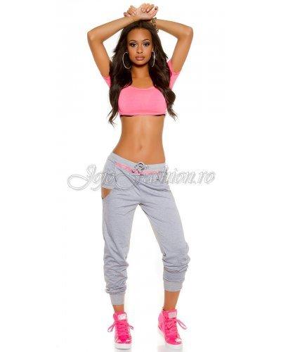Pantaloni trening dama gri 2in1 Ariella