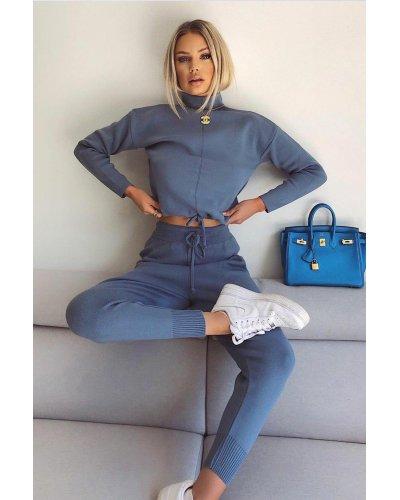 Compleu dama casual pantaloni si bluza din bumbac albastru Vanda