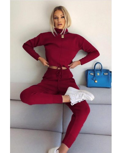 Compleu dama casual pantaloni si bluza din bumbac burgundy Vanda