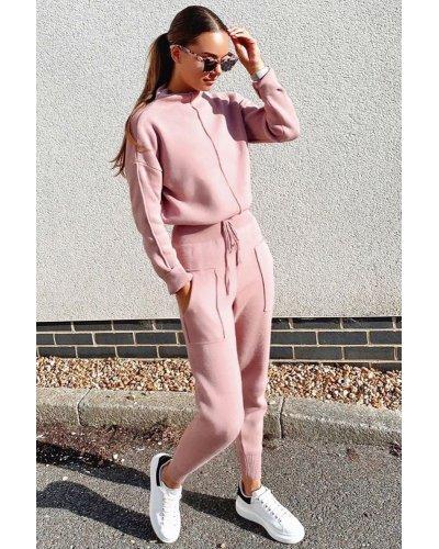 Compleu dama casual pantaloni si bluza din bumbac roz pudra Vanda