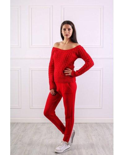 Compleu dama sport rosu tricotat Myra