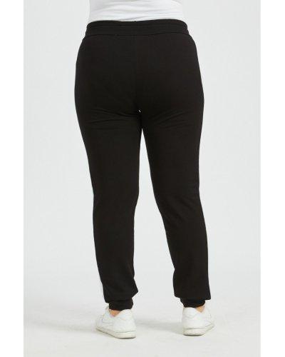 Pantaloni dama XXL sport negri cu dungi albe Onessa
