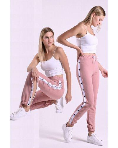 Pantaloni de trening dama roz cu capse functionale Assur